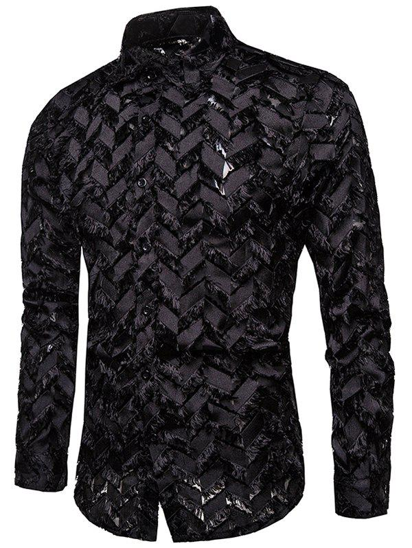 Zigzag Textured See Through Button Up Shirt фото