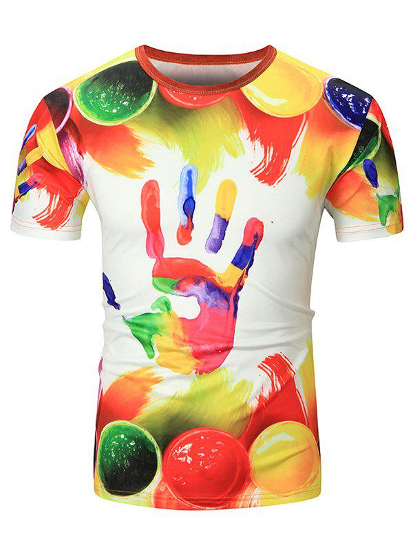 Affordable Colorful Handprint Short Sleeves T-shirt