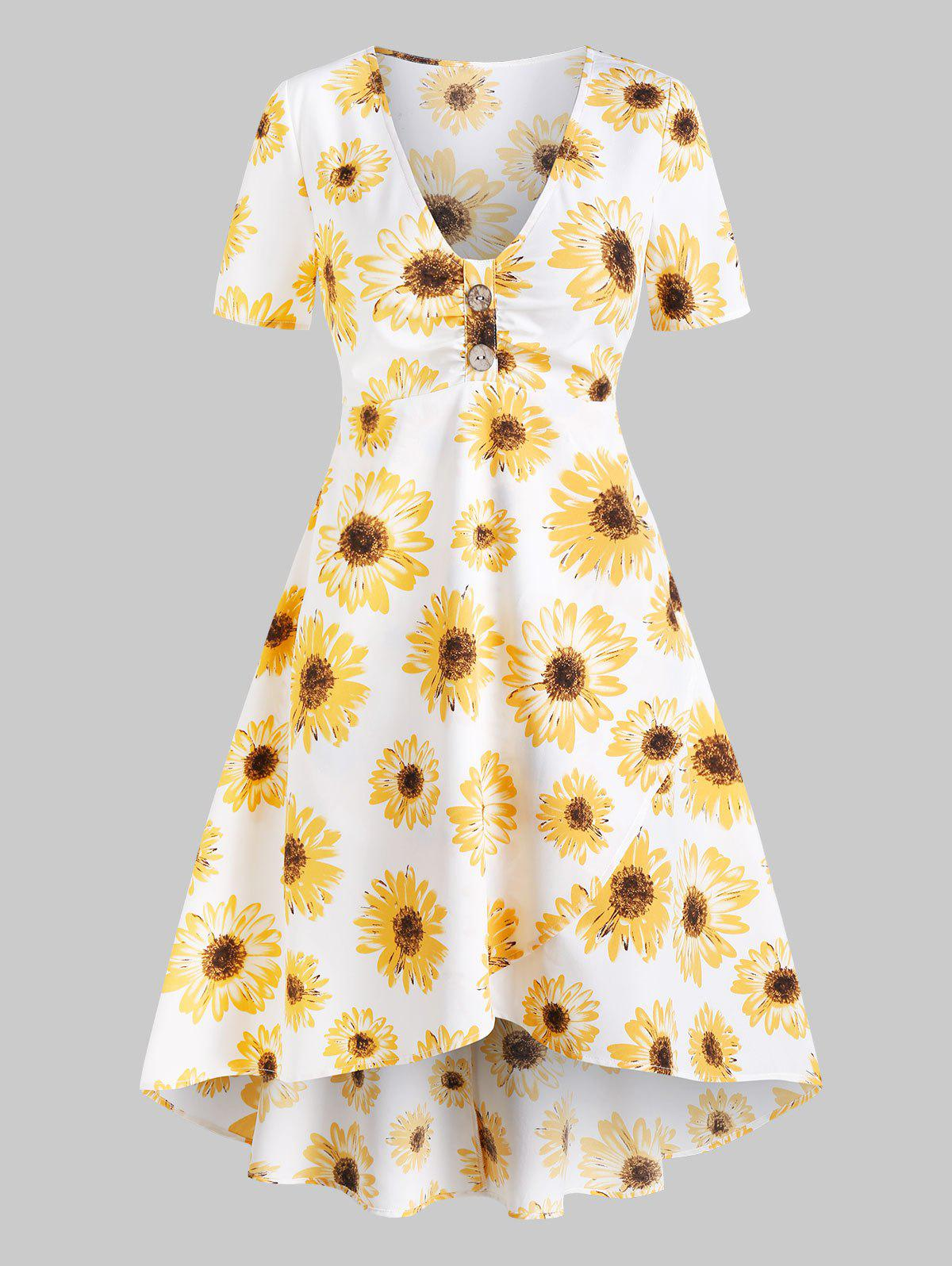 Cheap Sunflower Print Overlap Flare Dress
