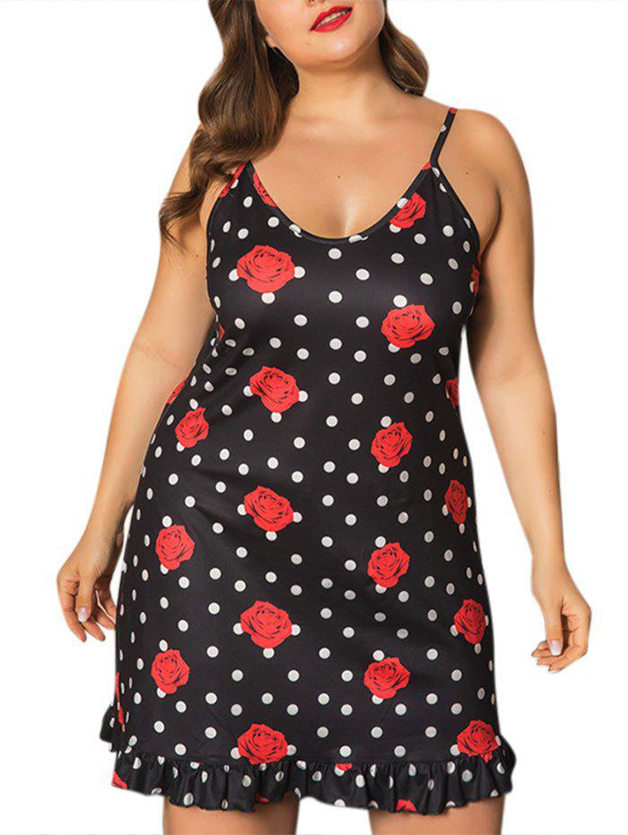 Affordable Plus Size Polka Dot Floral Ruffle Nightdress