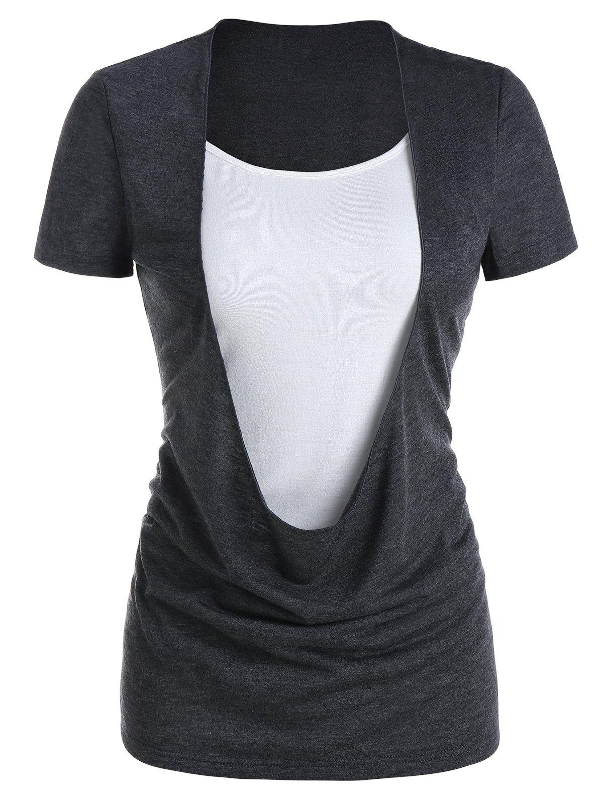 Fashion Draped Heathered Faux Twinset T-shirt