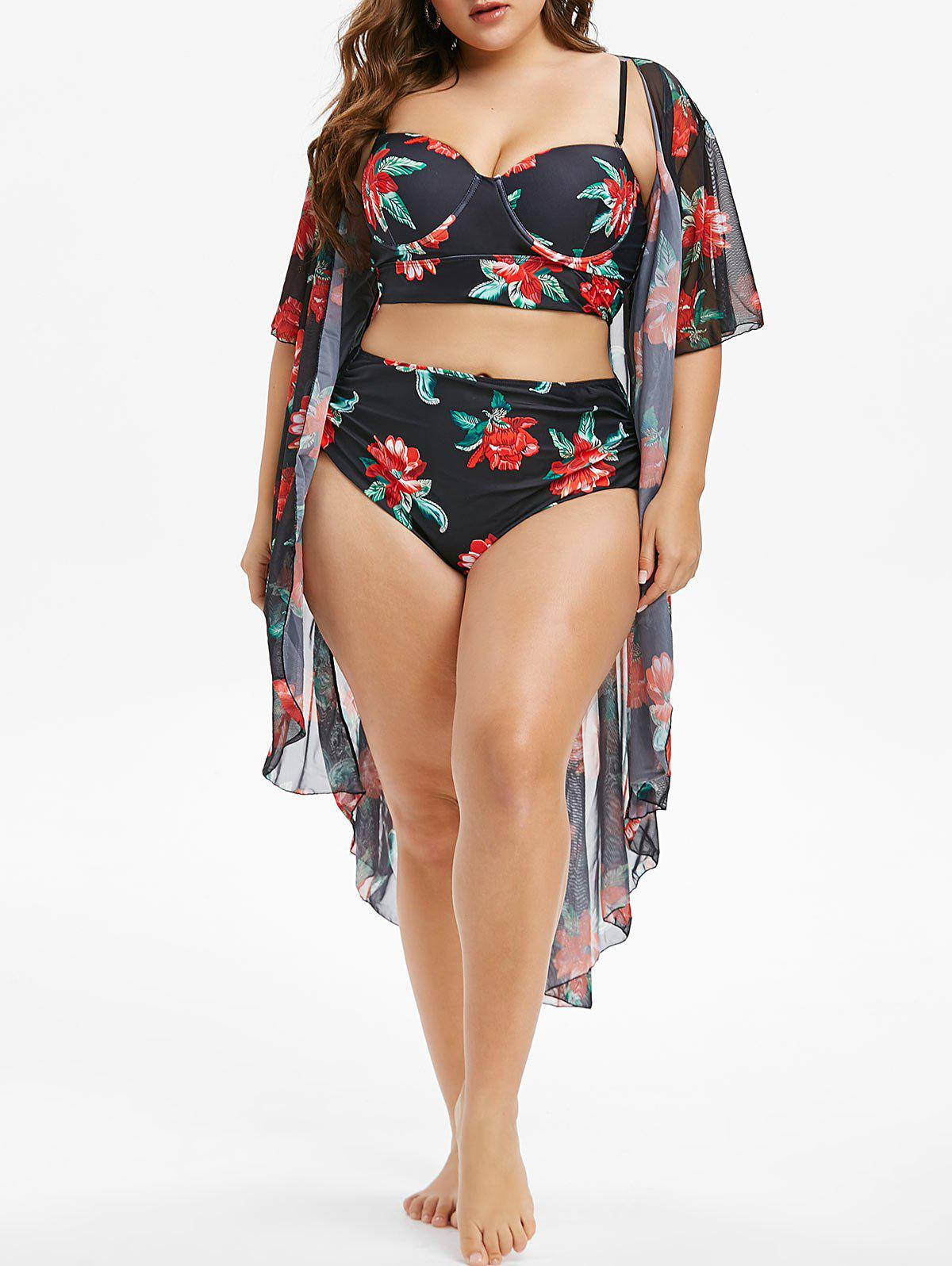 Cheap Plus Size Underwire Floral Tankini Swimsuit With Cover Up Set
