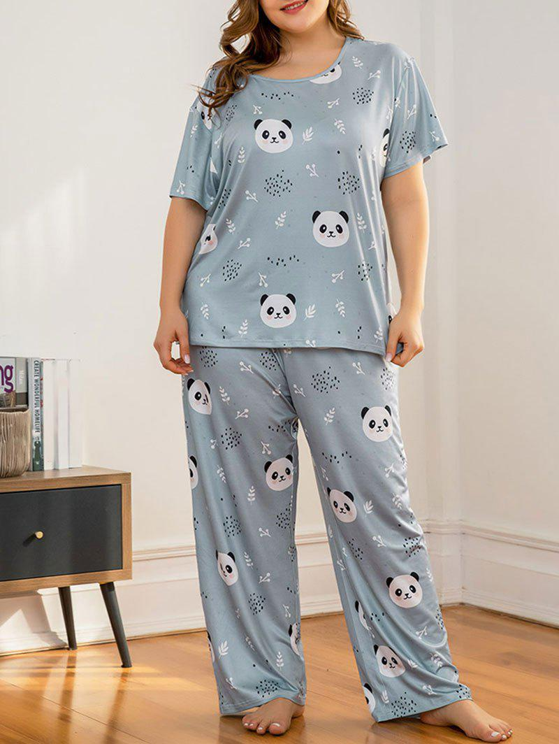 Sale Plus Size Panda Print Pajama Set