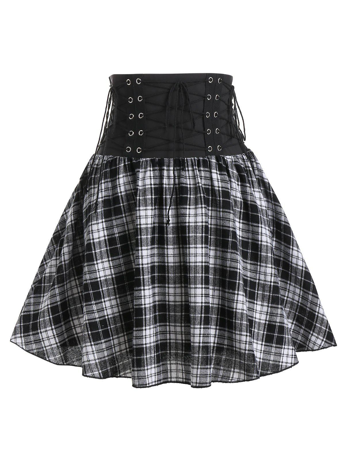 Affordable Plaid Print High Waisted Lace-up Skirt