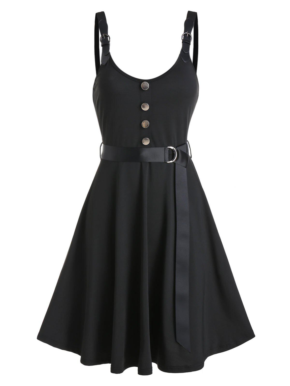 Best Buckle Strap Mock Button Belted Flare Dress