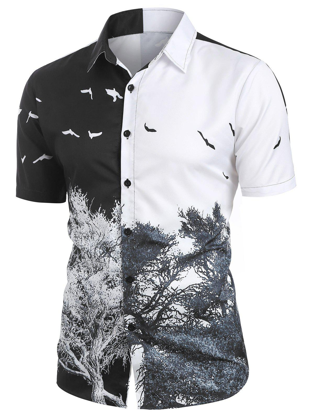 Cheap Tree and Bird Printed Button Up Shirt