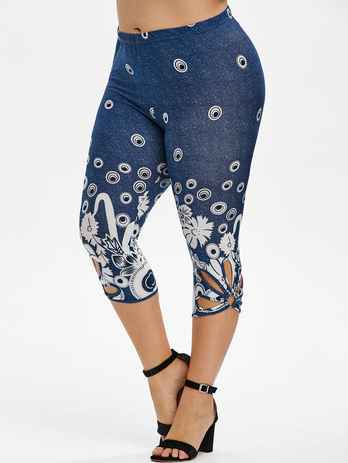 Outfit Plus Size Flower Design Fitted Capri Leggings