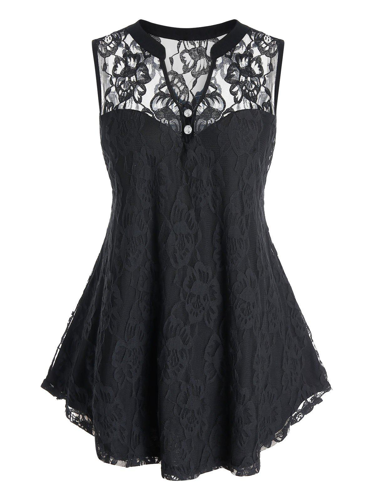 Plus Size Lace See Thru V Neck Curved Sleeveless Top фото
