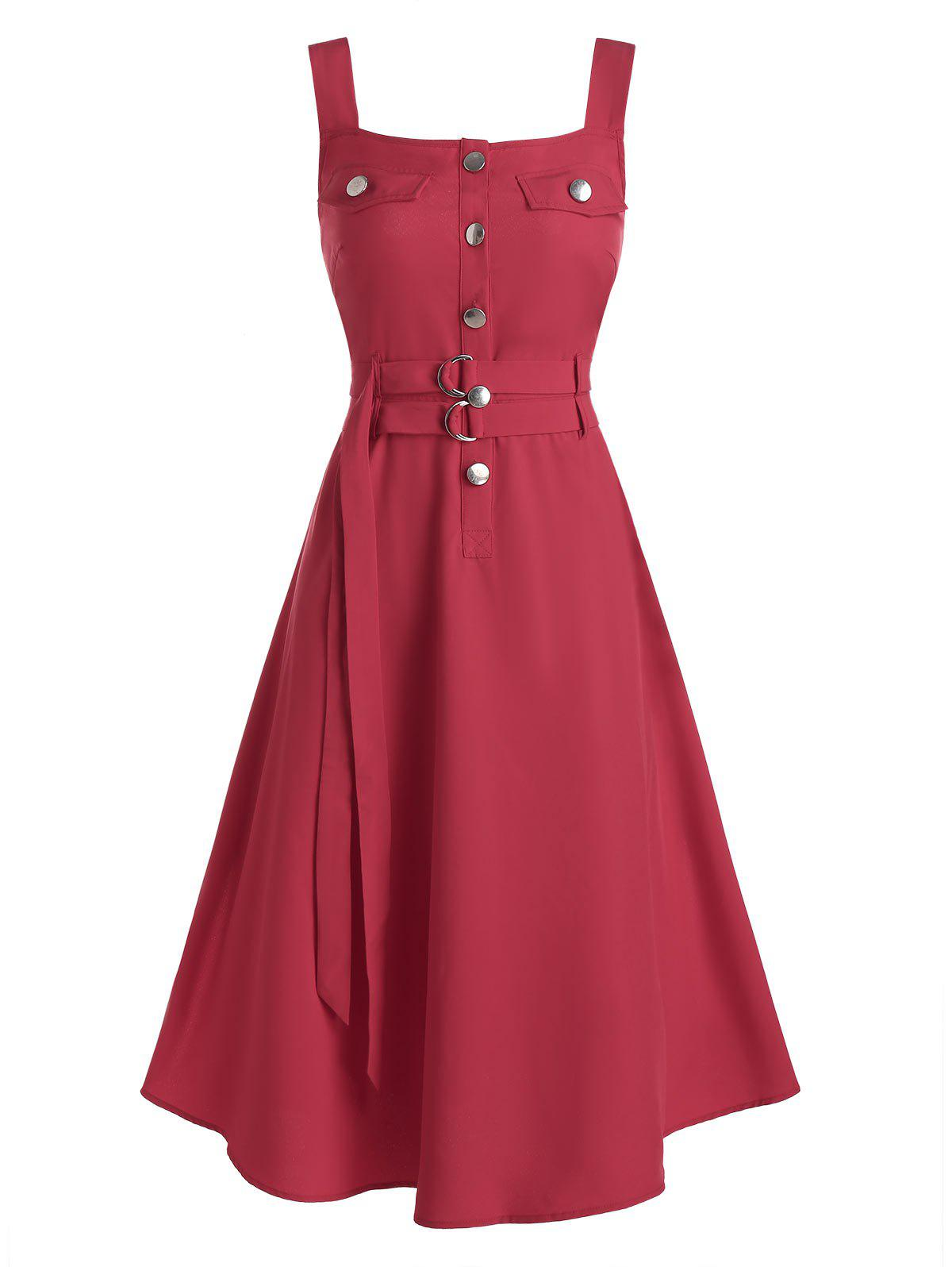 Fancy Buttons Self Tie Belt Fit And Flare Dress