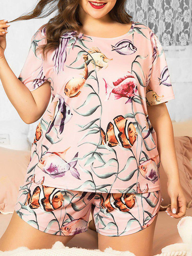Chic Plus Size Plant Fish Starfish Jellyfish Print Short Pajama Set