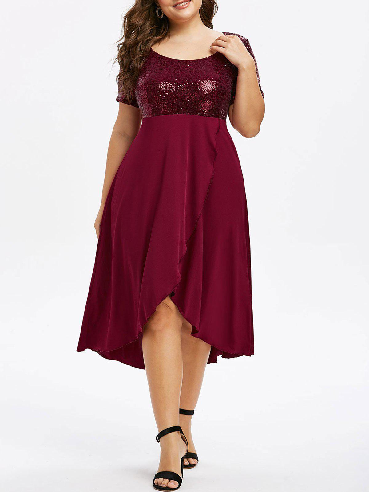 Buy Plus Size Sequin High Low Splicing Dress