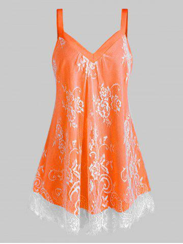 Plus Size Floral Lace Overlay Sweetheart Neck Tank Top - DARK ORANGE - L
