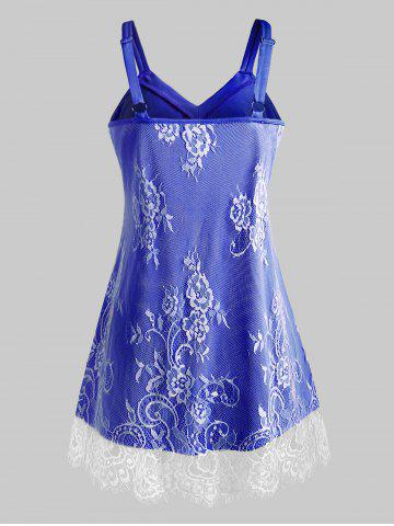 Plus Size Floral Lace Overlay Sweetheart Neck Tank Top, Blue