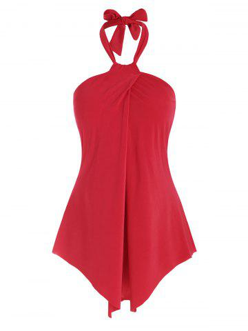 Overlap Halter Padded One-piece Swimsuit - RED - S