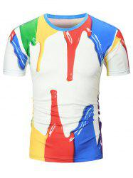 3D Paint Printed Crew Neck T Shirt -