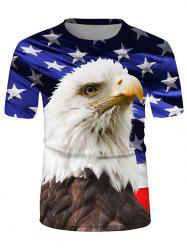 Eagle Flag Graphic Casual Crew Neck T Shirt -