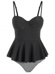 Striped Underwire Peplum Tankini Swimwear -