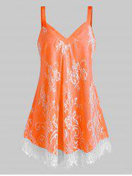 Plus Size Floral Lace Overlay Sweetheart Neck Tank Top -