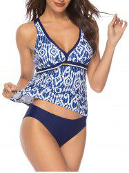 Printed Contrast Piping Tankini Swimwear -