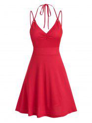 Strappy Open Back Criss-cross Ruched Dress -