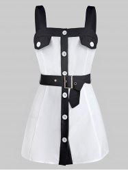 Button Through Belted Contrast Tank Top -