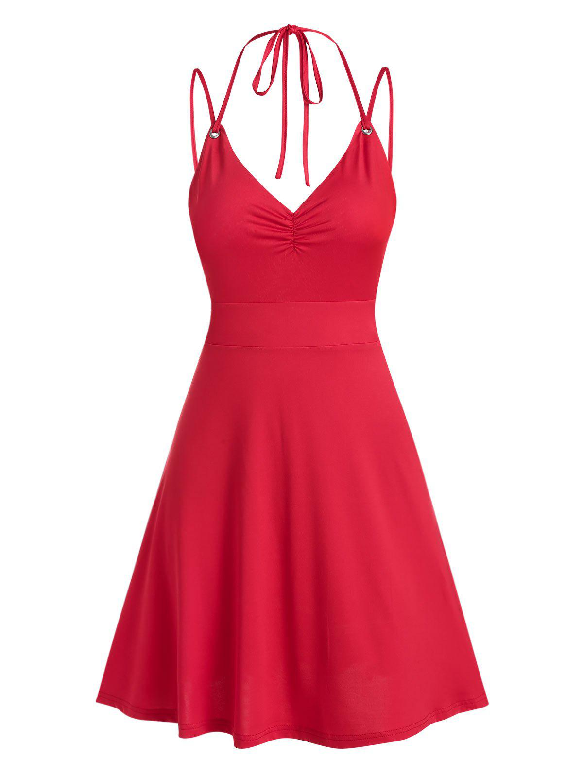 Shops Strappy Open Back Criss-cross Ruched Dress