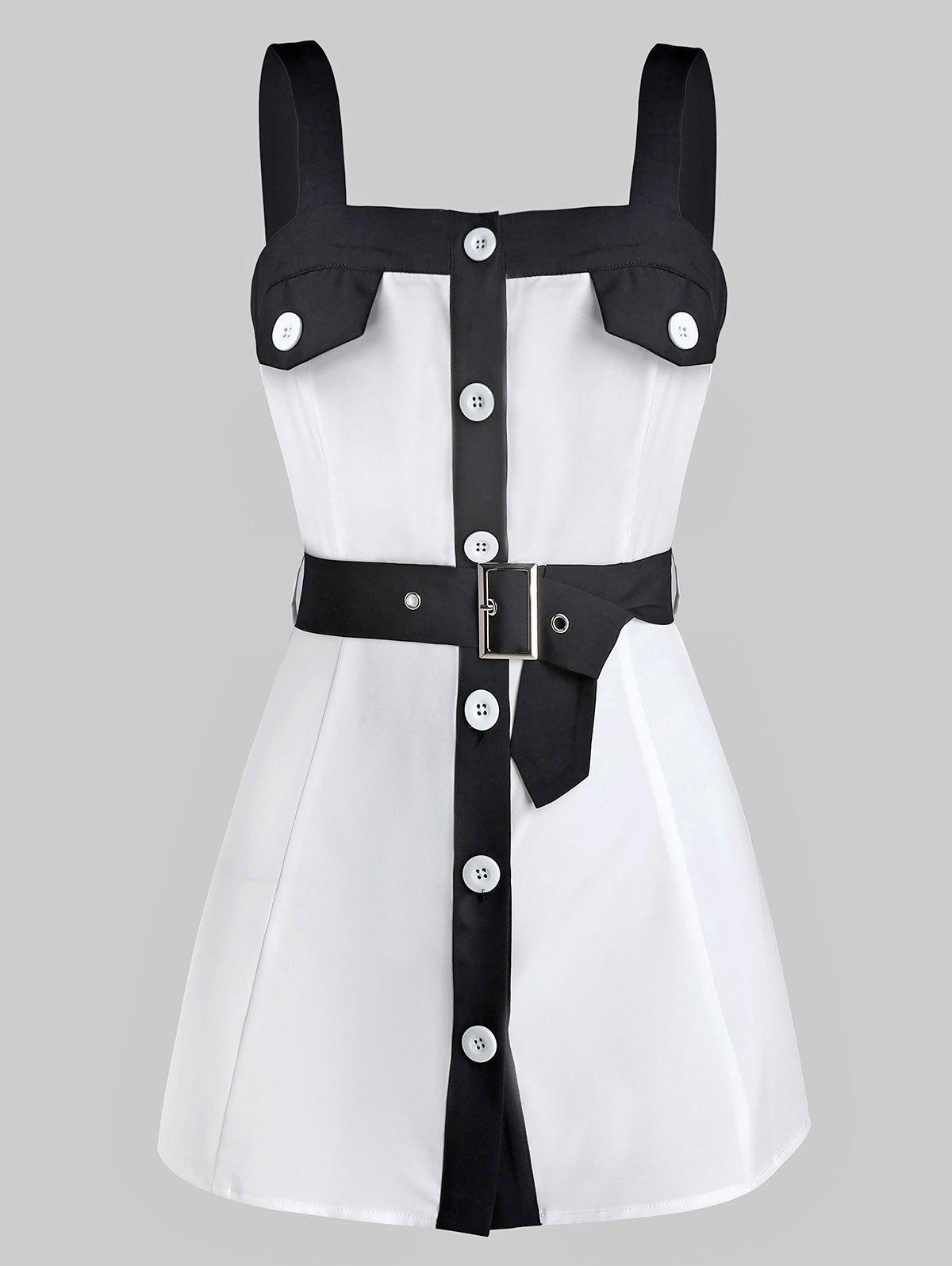 Online Button Through Belted Contrast Tank Top