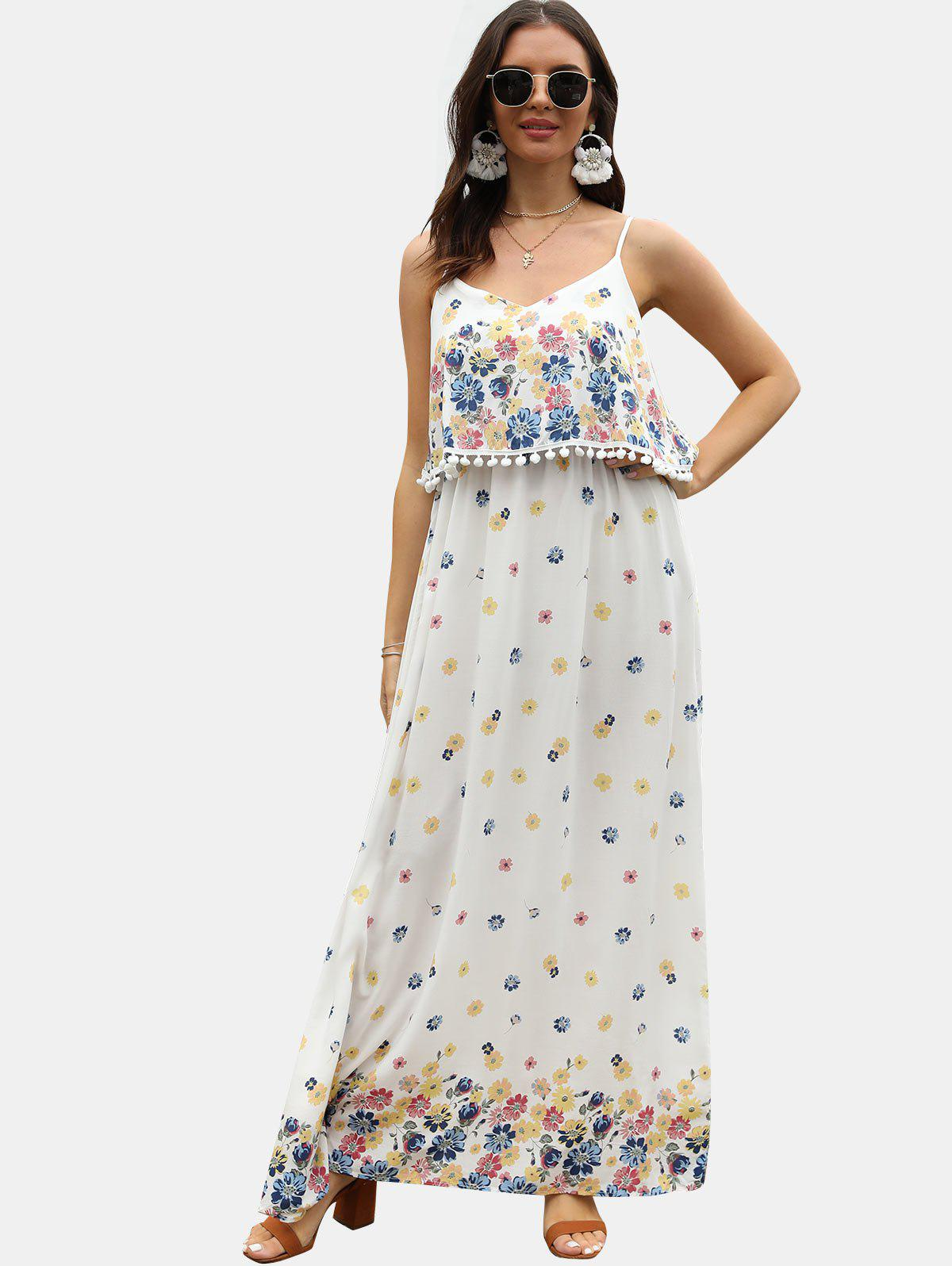 Outfit Spaghetti Strap Floral Print Maxi Popover Dress