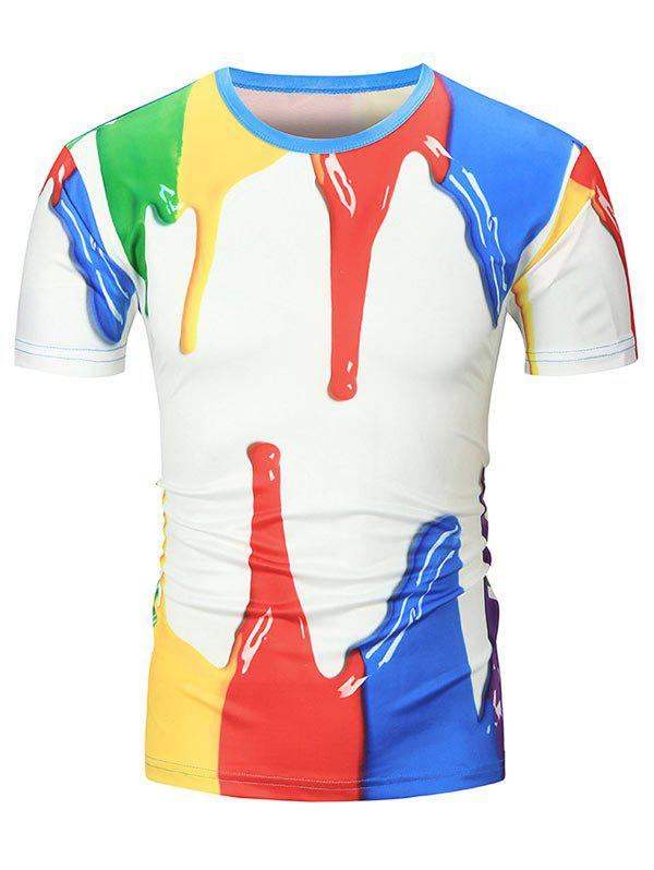 Buy 3D Paint Printed Crew Neck T Shirt