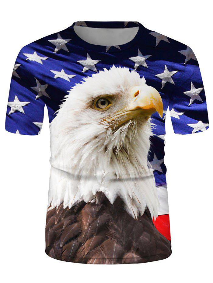 Chic Eagle Flag Graphic Casual Crew Neck T Shirt