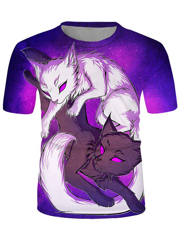 Store Yin Yang Wolf Graphic Crew Neck Lounge T Shirt