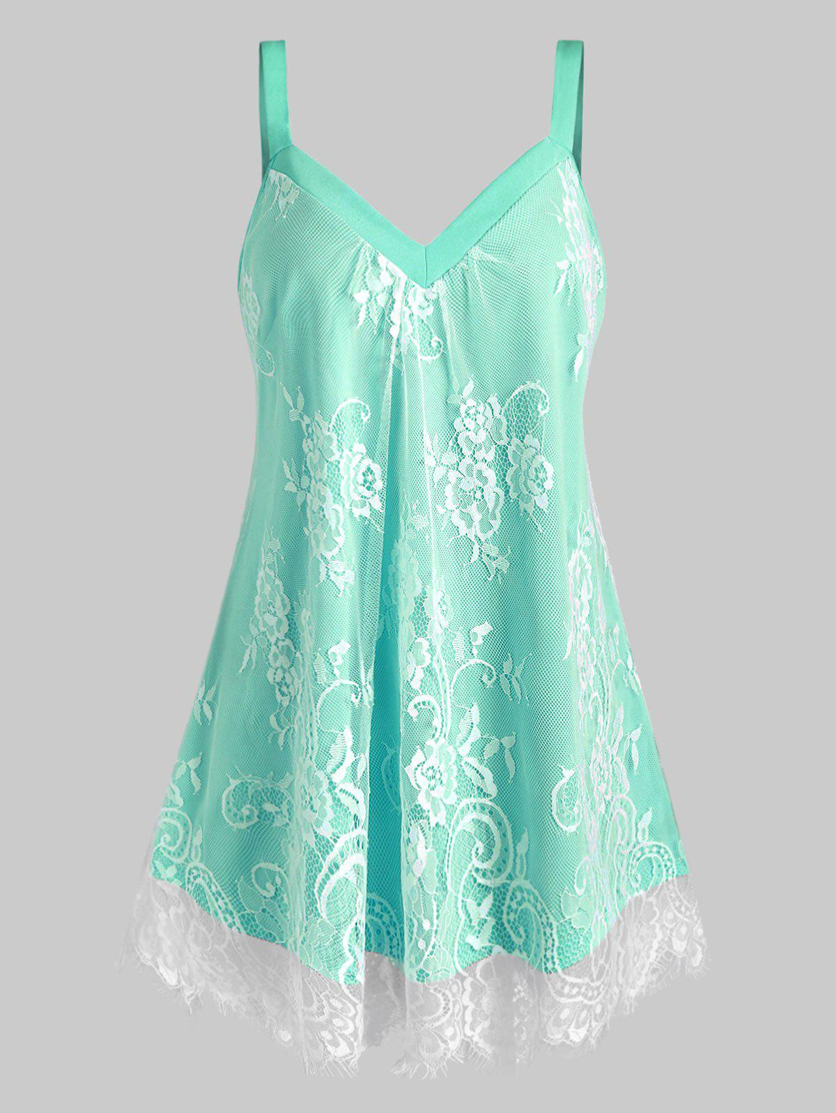 Chic Plus Size Floral Lace Overlay Sweetheart Neck Tank Top