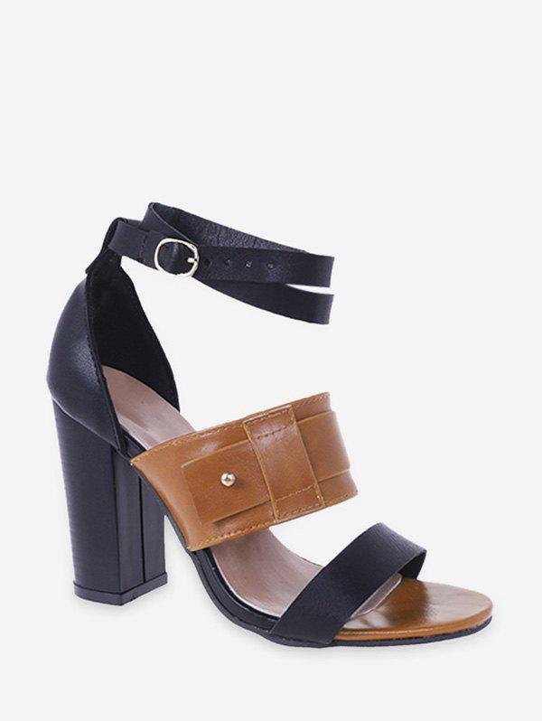 Sale Faux Leather High Heel Ankle Strap Sandals