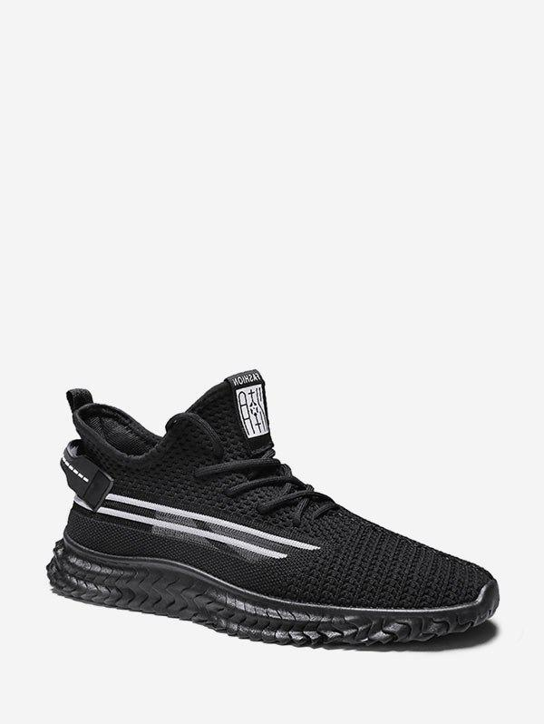Cheap Contrast Striped Woven Running Sneakers