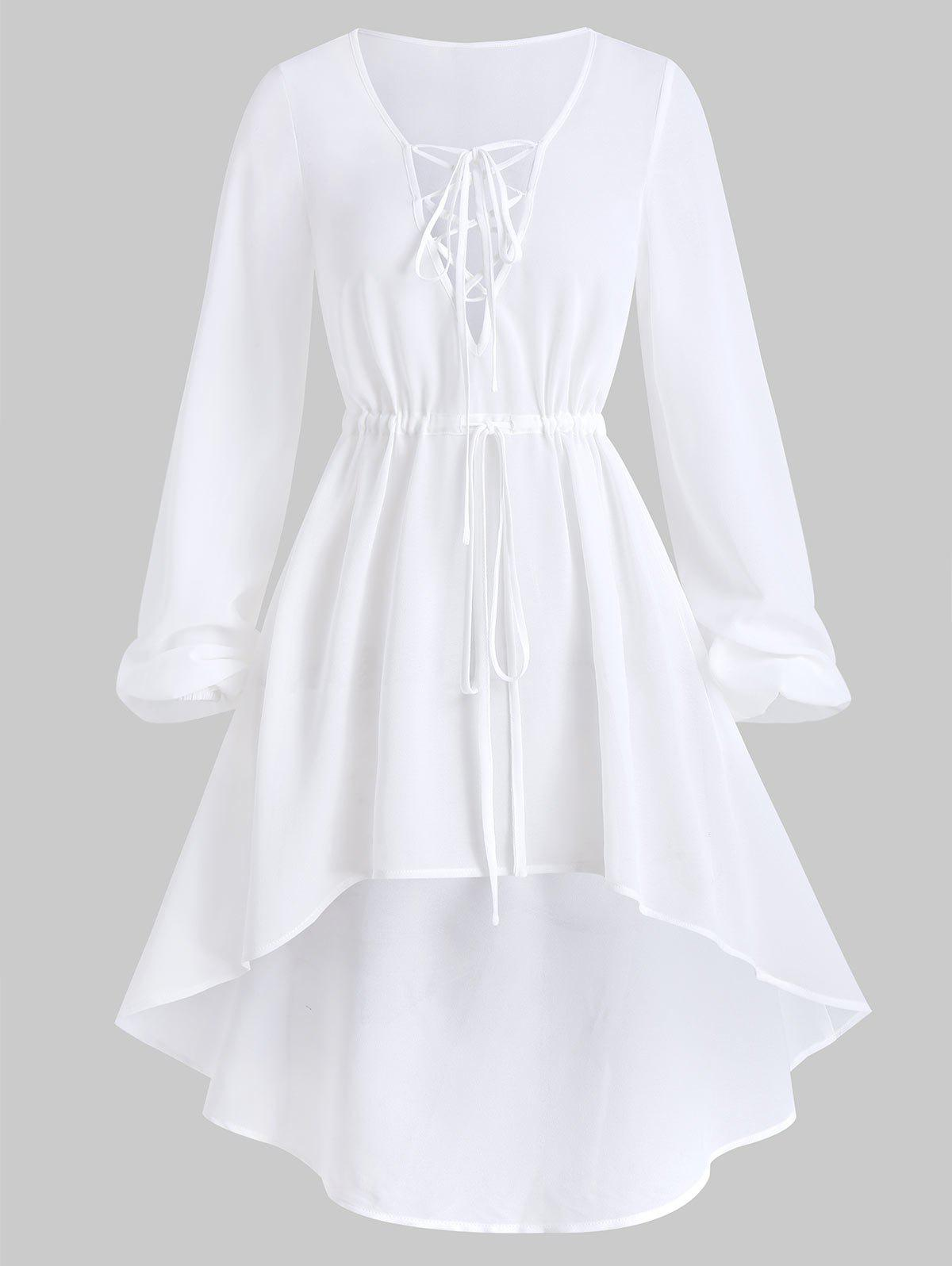 Shops Lace-up Bishop Sleeve High Low Chiffon Cover-up