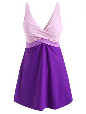 Color Blocking Twist Tie Back Tankini Swimwear - PURPLE AMETHYST - XL