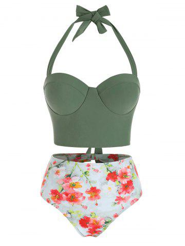 Floral Print Cutout Halter Tankini Swimsuit - CAMOUFLAGE GREEN - M
