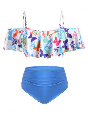 Plus Size Butterfly Print Flounce Ruched Tankini Swimwear - DODGER BLUE - L