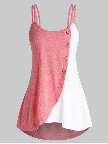 Plus Size Button Colorblock Tank Top - MULTI - 3X