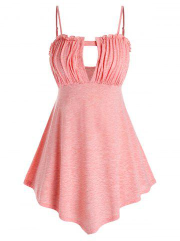 Plus Size Ruched Keyhole Tank Top - FLAMINGO PINK - 4X