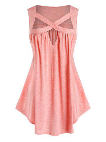 Plus Size Cutout Crisscross Tank Top - ORANGE PINK - 2X