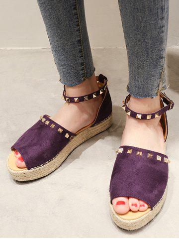 Rivet Trim Open Toe Espadrille Platform Shoes - PURPLE IRIS - EU 38
