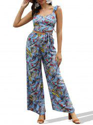 Tropical Print Backless Wrap Top and Wide Leg Pants -