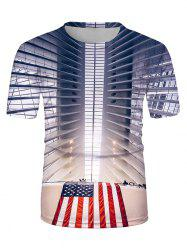 American Flag 3D Print Crew Neck Casual T Shirt -