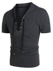 Heathered Short Sleeve Lace-up Hoodie -