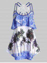 Plus Size Ruffle Palm Tree Print Strappy Tank Top -