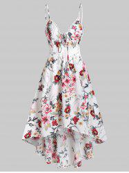 Plunging Neck Bowknot Floral Print Cami Dress -