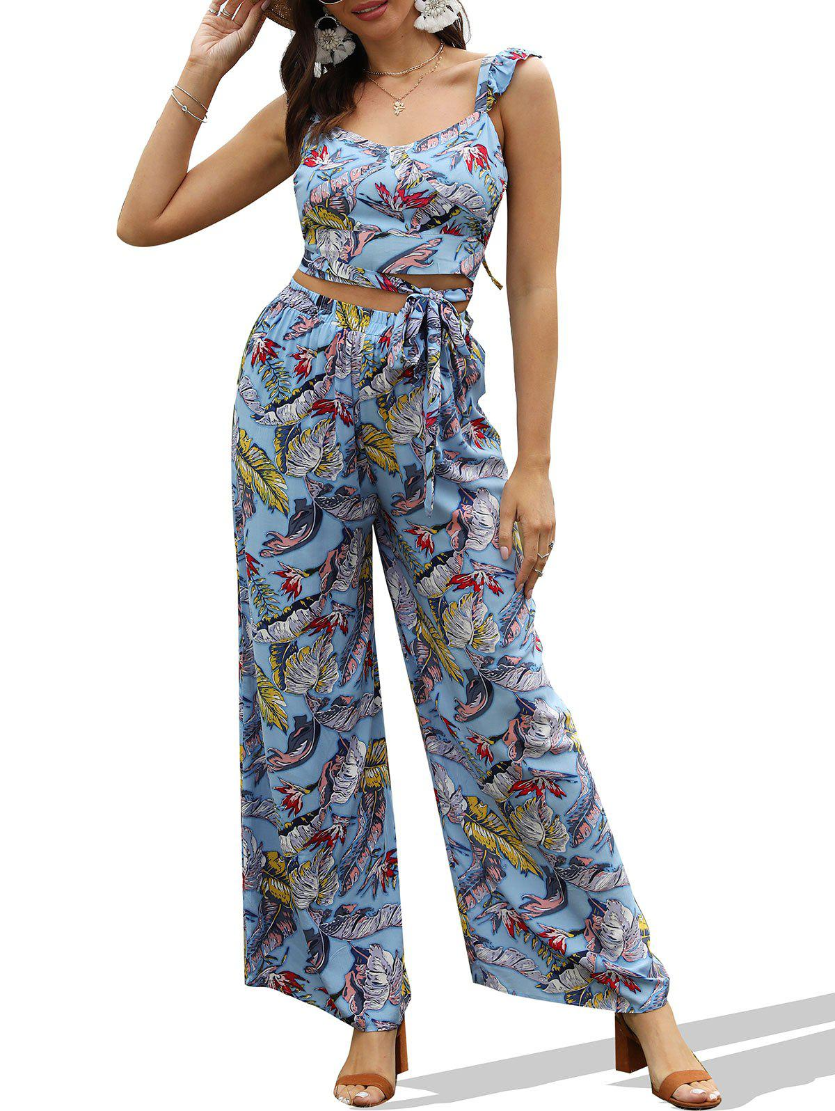 Latest Tropical Print Backless Wrap Top and Wide Leg Pants