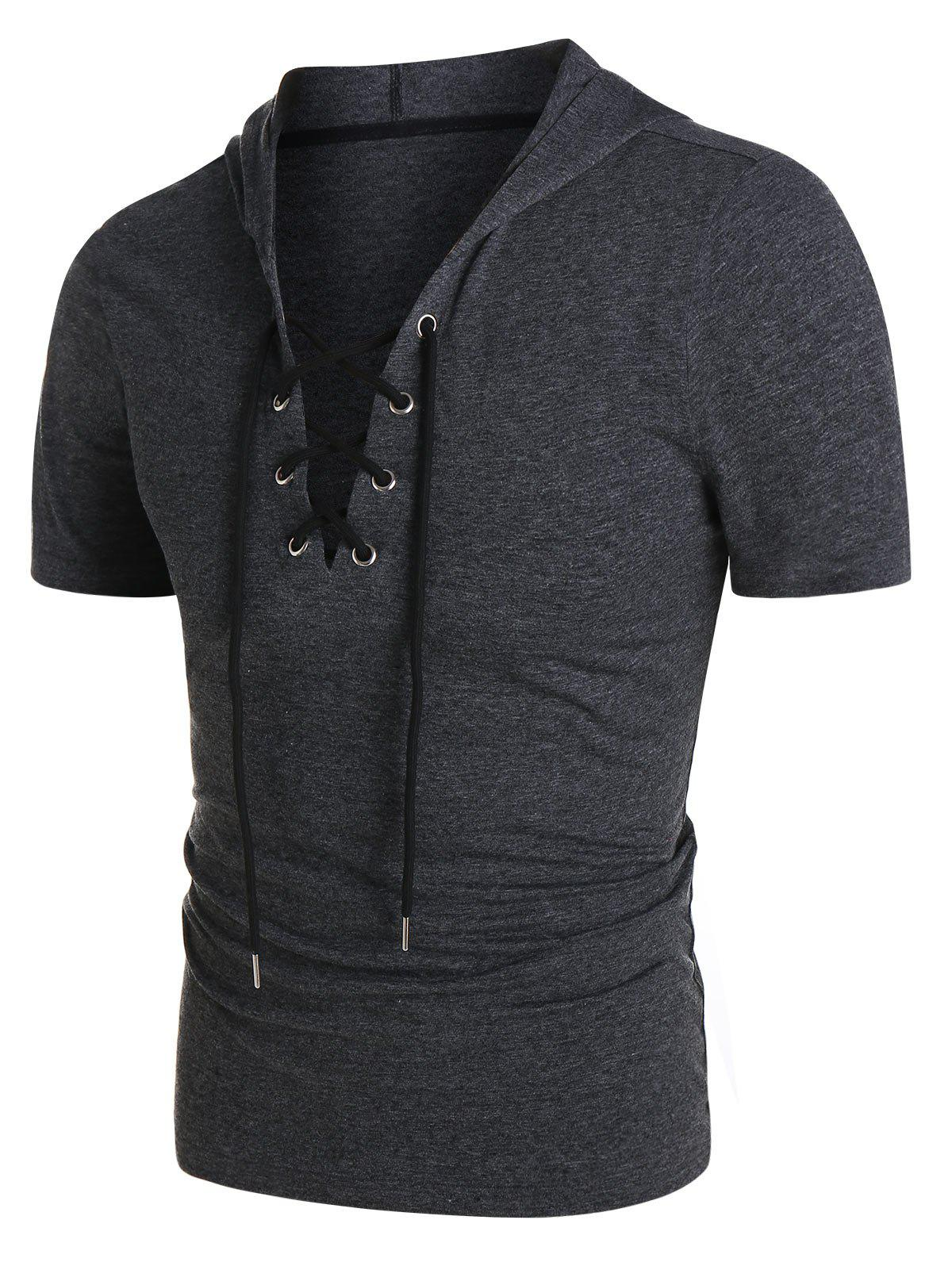 Cheap Heathered Short Sleeve Lace-up Hoodie