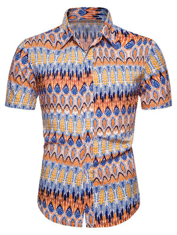 Cheap Ethnic Leaf Seamless Pattern Short Sleeve Shirt
